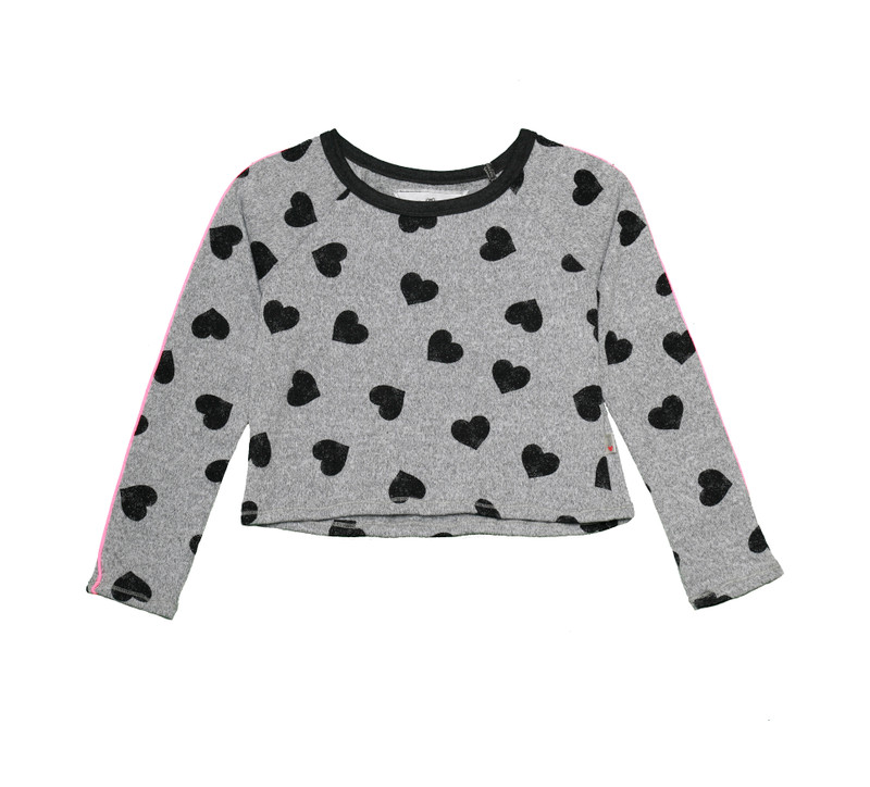 BLACK HEARTS LONG SLEEVE CREW WITH ROSE GOLD PIPING