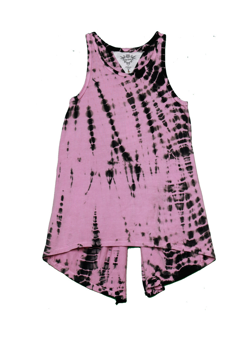 BAMBOO PINK TIE DYE KNOTTED BACK SWING TANK