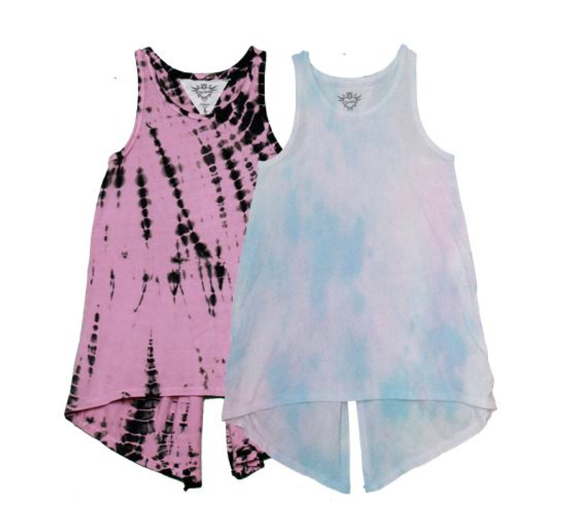 PNB BAMBOO PINK TIE DY KNOTTED BACK SWING TANK