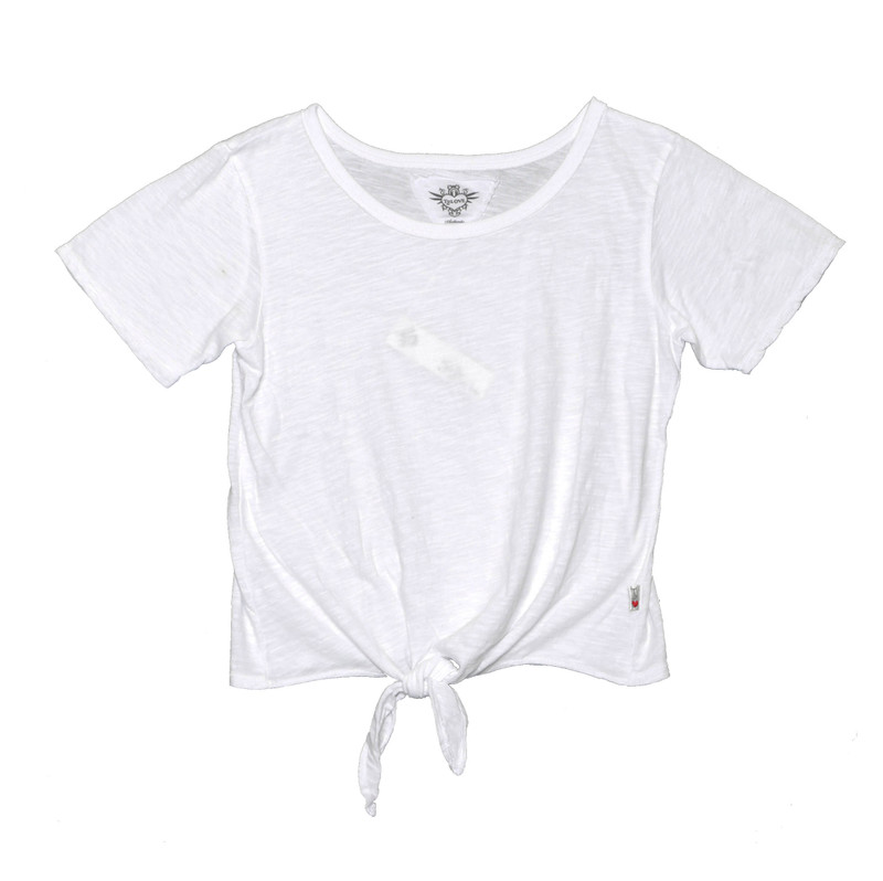 WHITE SHORT SLEEVE TIE FRONT TEE