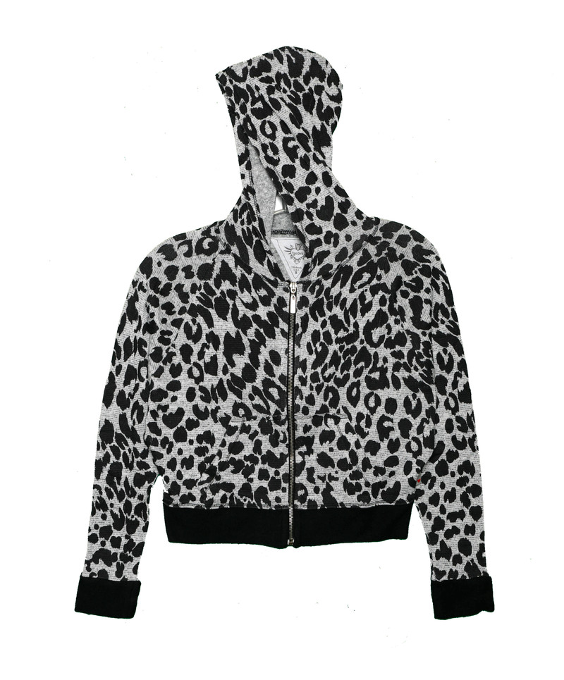 LEOPARD PRINT LONG SLEEVE HOODED ZIP JACKET WITH RAW EDGE