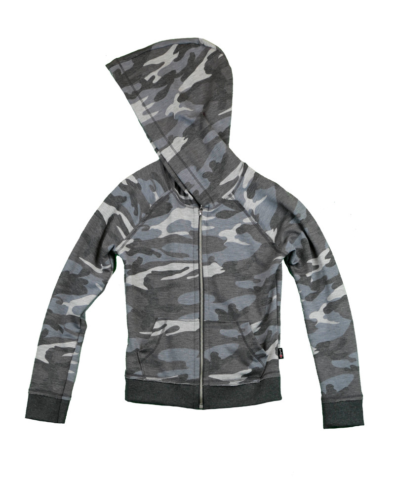 CHARCOAL PRINT LONG SLEEVE HOODED ZIP JACKET WITH RAW EDGE