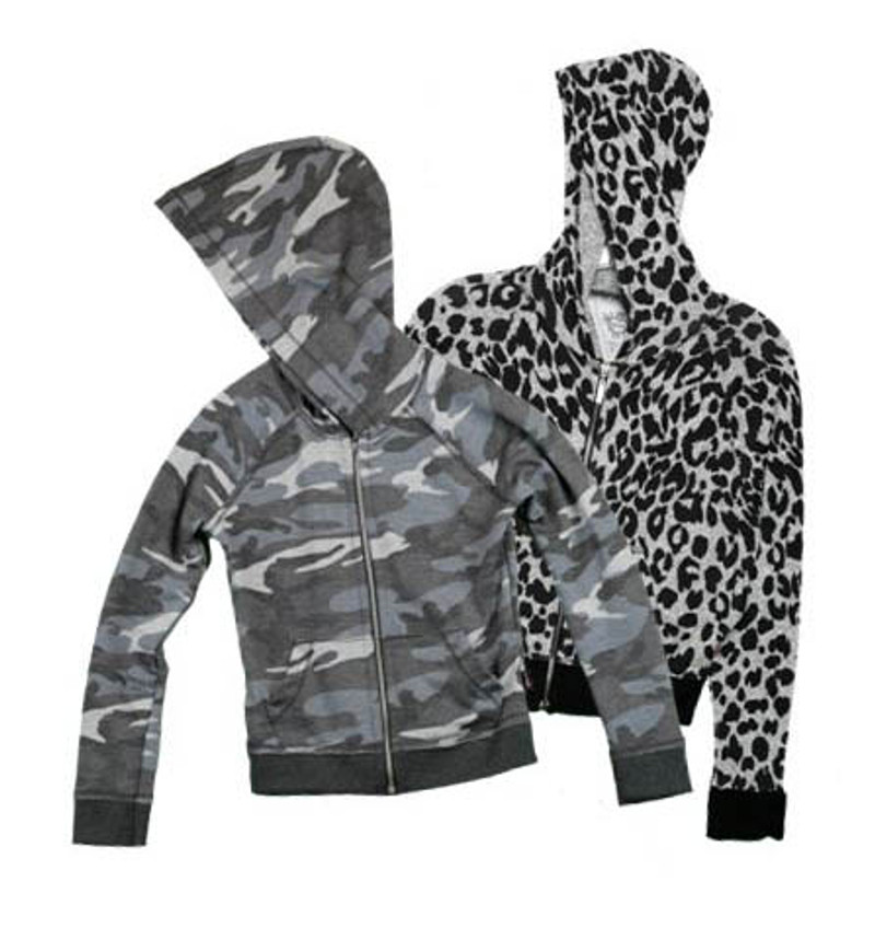 CHARCOAL AND LEOPARD PRINT LONG SLEEVE HOODED ZIP JACKET WITH RAW EDGE