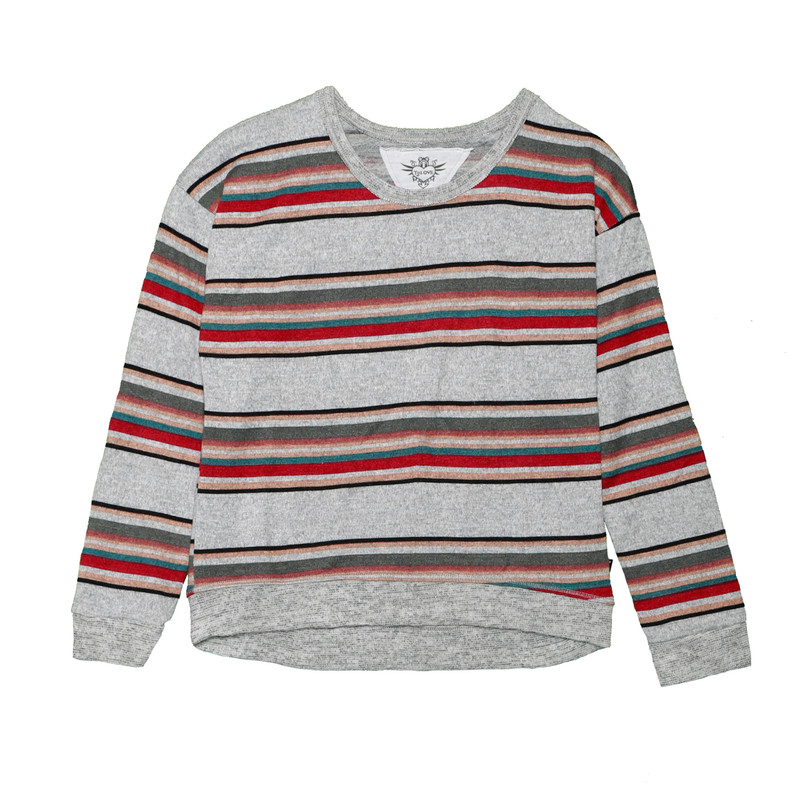 BIG STRIPES LONG SLEEVE TOP WITH CONTRAST TRIM