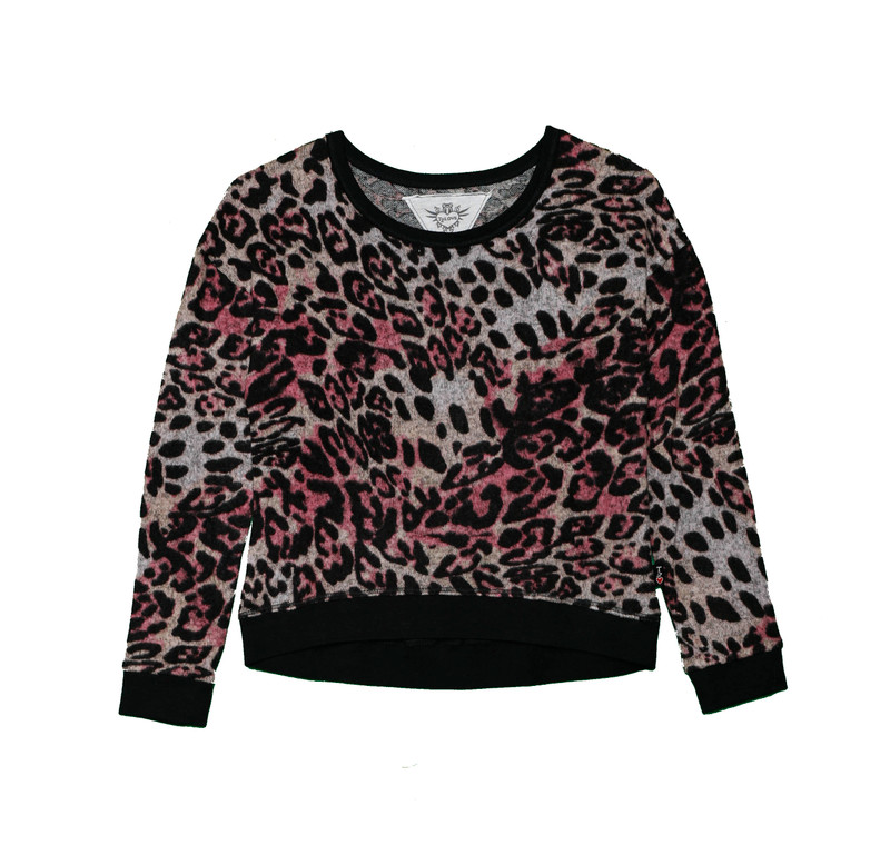 ROSE LEOPARD LONG SLEEVE TOP WITH CONTRAST TRIM