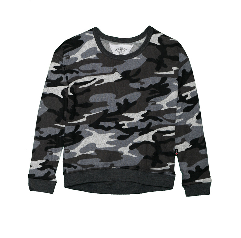 CHARCOAL CAMO LONG SLEEVE TOP WITH CONTRAST TRIM