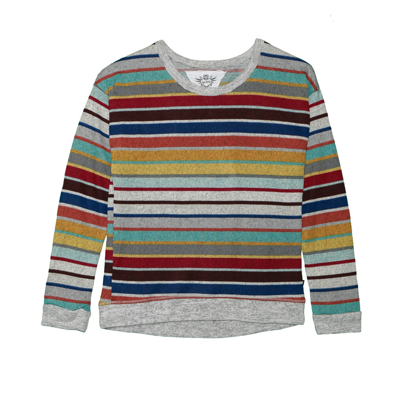 MULTI STRIPES LONG SLEEVE TOP WITH CONTRAST TRIM