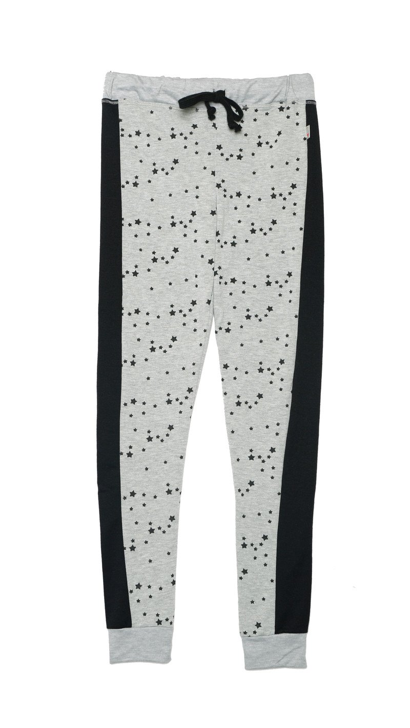 GREY HEATHER MINI STARS FITTED CONTRAST PANEL PANTS