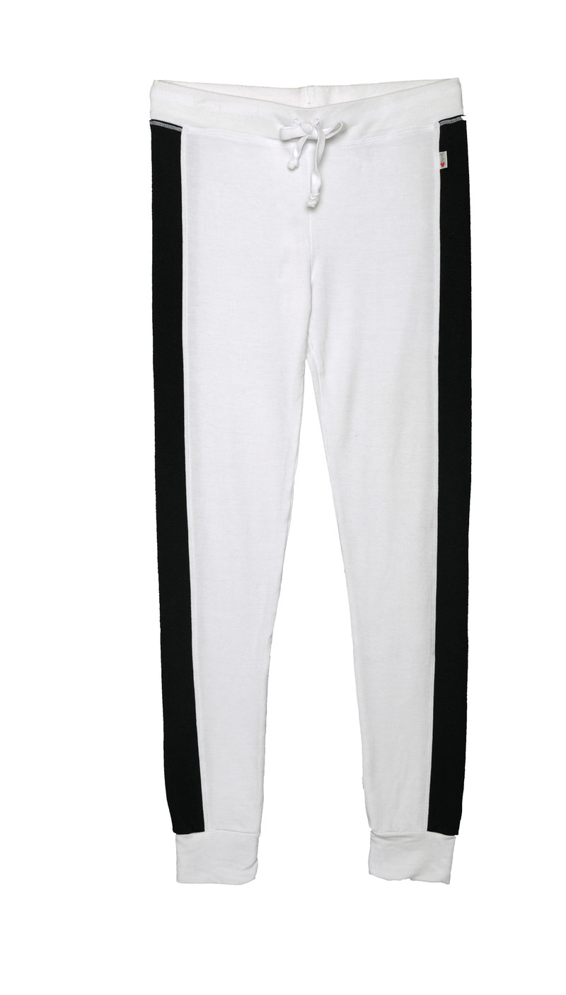 WHITE FITTED CONTRAST PANEL PANTS