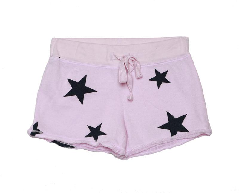 BABY  PINK NAVY STARS PRINT RAW EDGE SHORTS