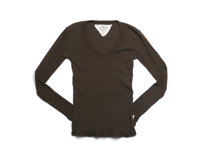 OLIVE LONG SLEEVE THERMAL MODAL LYCRA V NECK TOP WITH THUMBHOLE