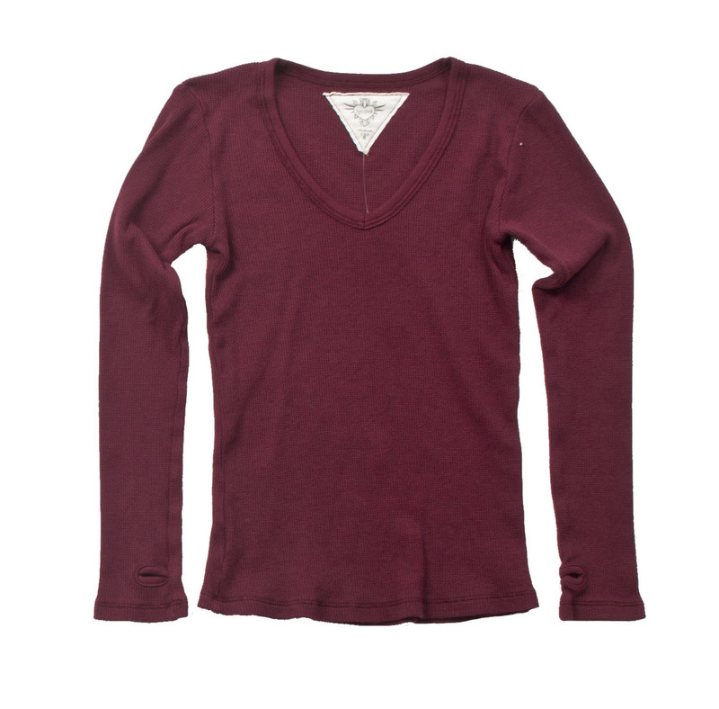 BURGUNDY LONG SLEEVE THERMAL MODAL LYCRA  V NECK TOP WITH THUMBHOLE