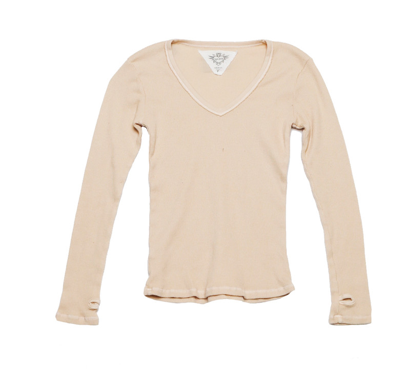 VANILLA LONG SLEEVE THERMAL MODAL LYCRA  V NECK TOP WITH THUMBHOLE