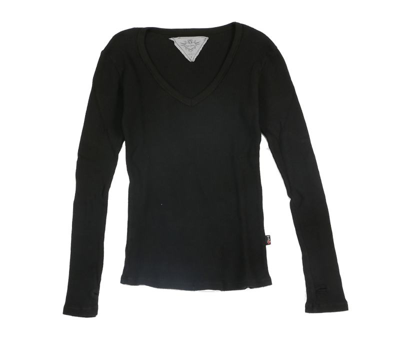BLACK LONG SLEEVE THERMAL MODAL LYCRA  V NECK TOP WITH THUMBHOLE