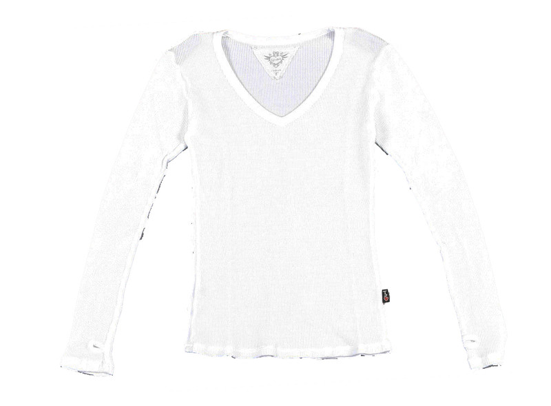 WHITE LONG SLEEVE THERMAL MODAL LYCRA  V NECK TOP WITH THUMBHOLE