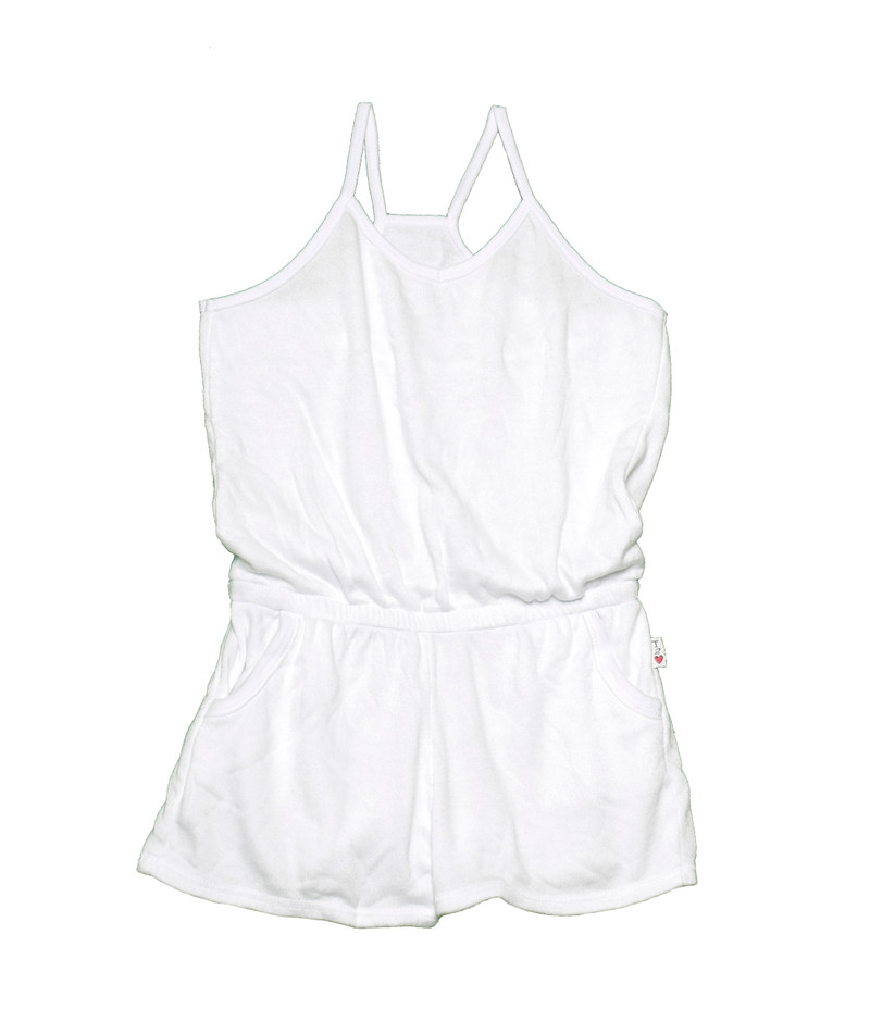 WHITE CAMI ROMPER WITH POCKETS