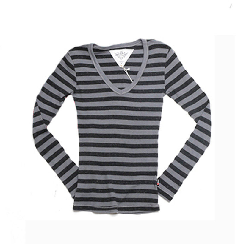 GREY LONG SLEEVE V NECK TOP WITH THUMBHOLE PRINTED CHARCOAL STRIPES