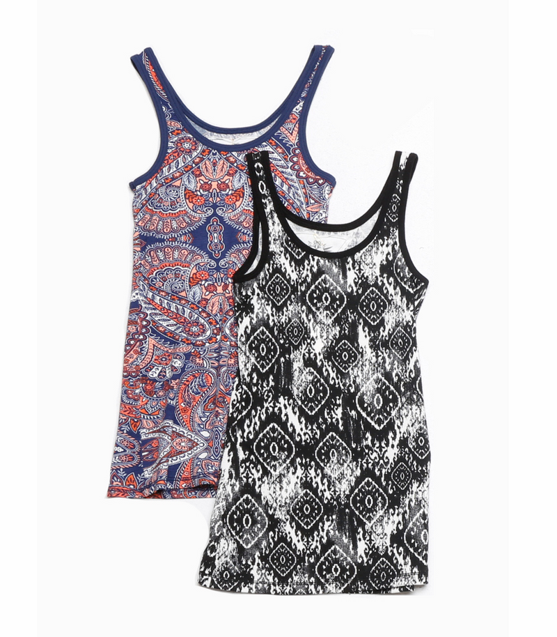 PRINT LAYER TANK TOP: PAISLEY, B/W BOHO, NAVY ANIMAL PRINT