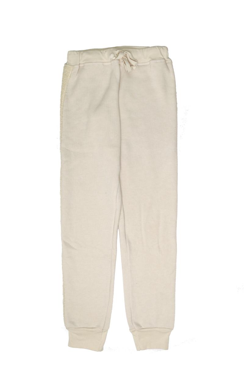 CREAM SWEAT PANTS WITH SIDE TRIM