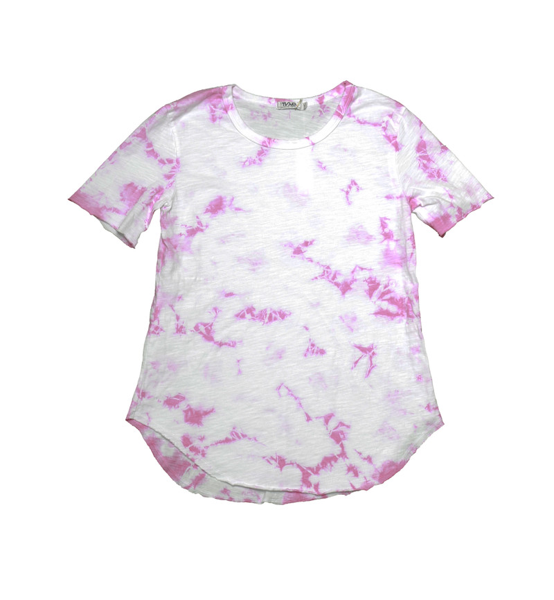 PINK TIE DYE SHORT SLEEVE ROUNDED BOTTOM TEE