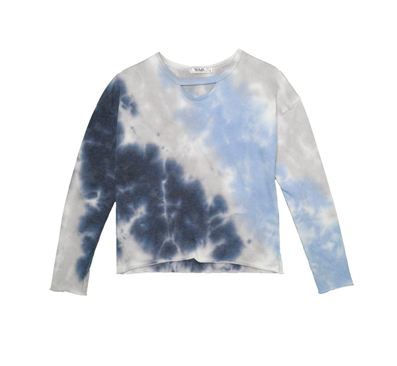 NGB (NAVY GREY BLUE) TIE DYE LONG SLEEVE CERW WITH KEYHOLE FRONT