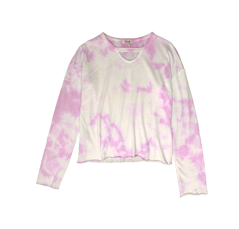 PINK TIE DYE LONG SLEEVE CERW WITH KEYHOLE FRONT