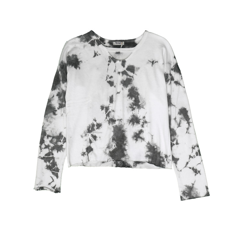CG (CREAM GREY) TIE DYE LONG SLEEVE CERW WITH KEYHOLE FRONT