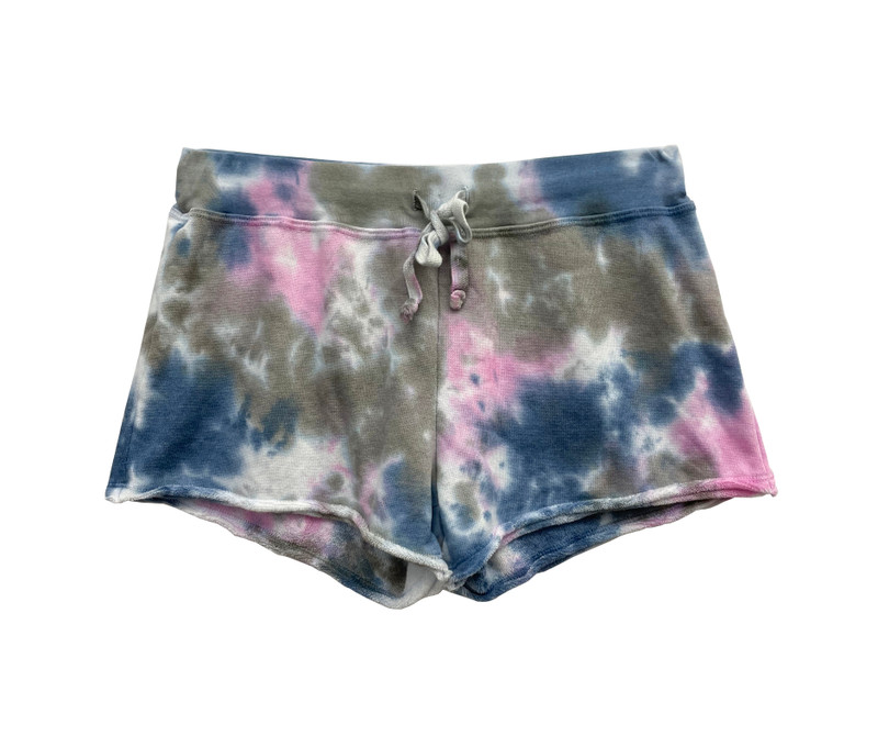 DGP (DENIM GREY PINK) TIE DYE FRENCH TERRY SHORT WITH  BACK POCKET