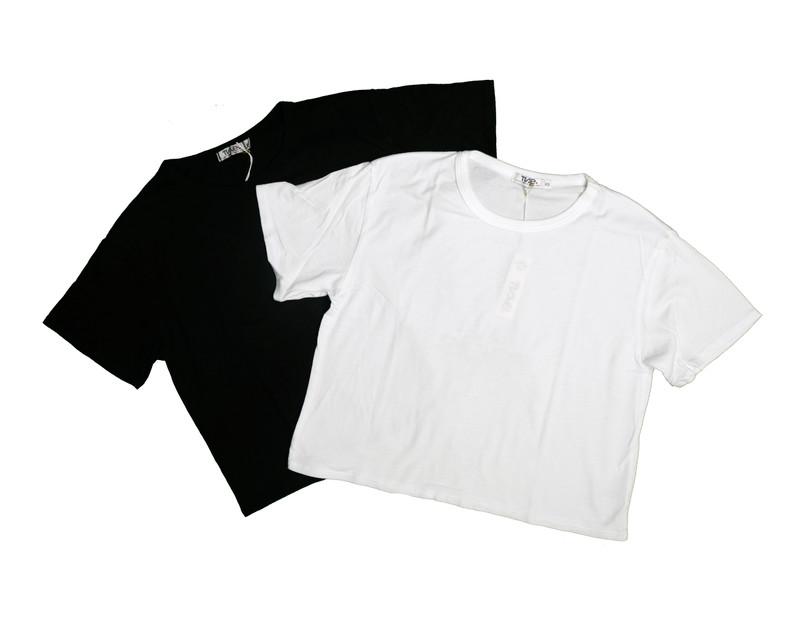 BLACK WHITE JERSEY COTTON SHORT SLEEVE BOXY CROP TEE