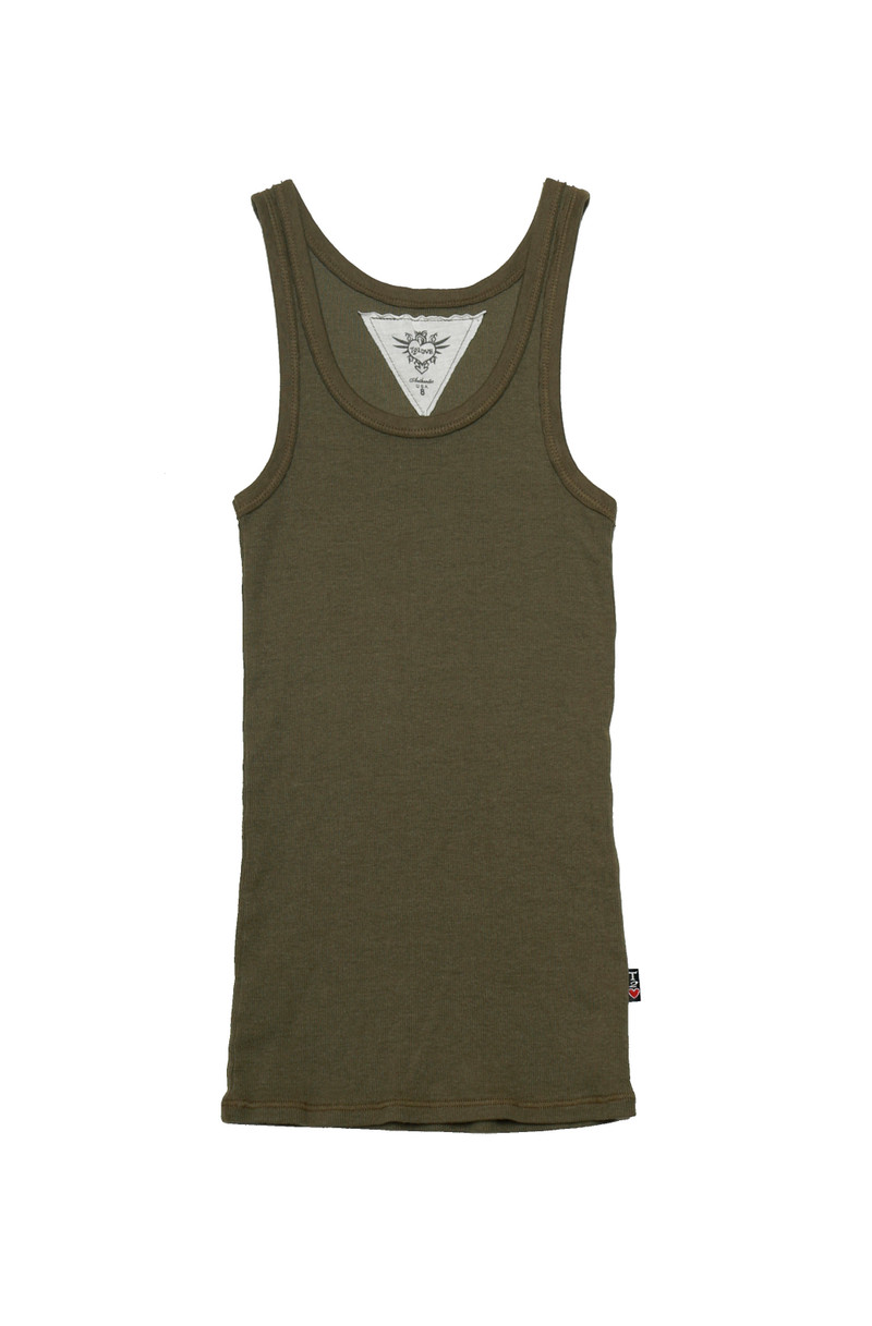 OLIVE BEATER TANK TOP