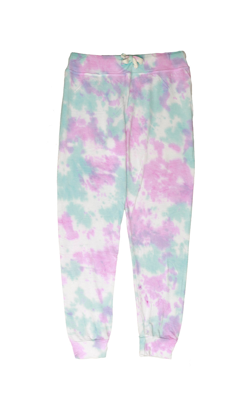 PNB (PINK NATURAL BLUE) TIE DYE CUFFED SWEATPANTS WITH BACK POCKET