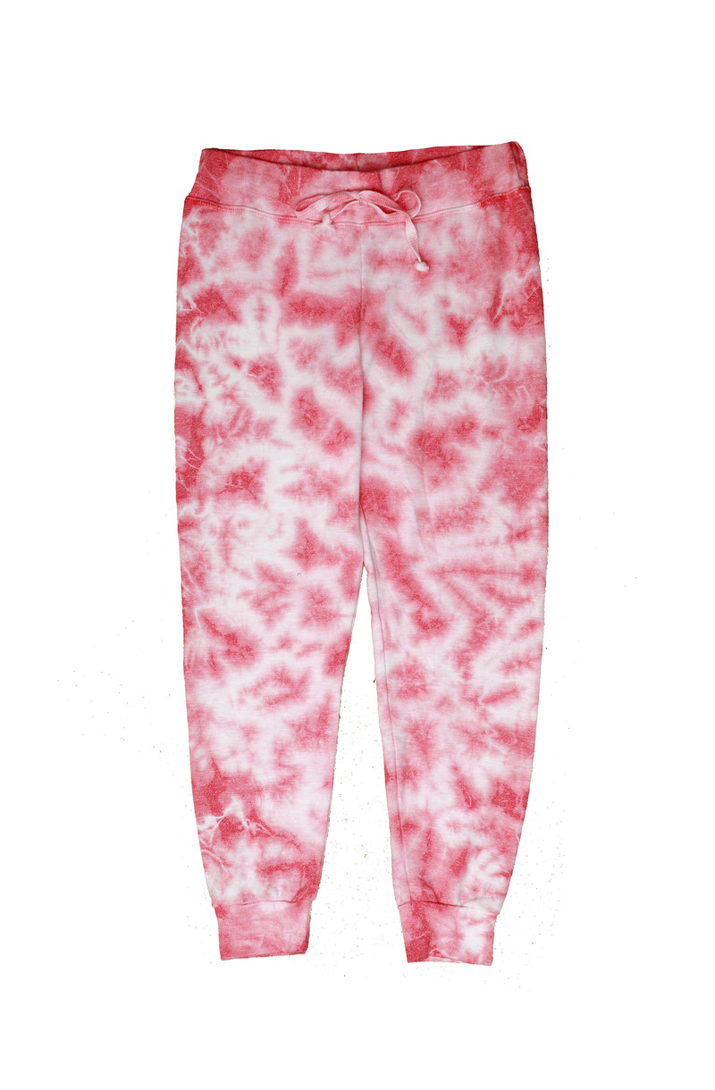 CORAL RED TIE DYE CUFFED SWEATPANTS WITH BACK POCKET
