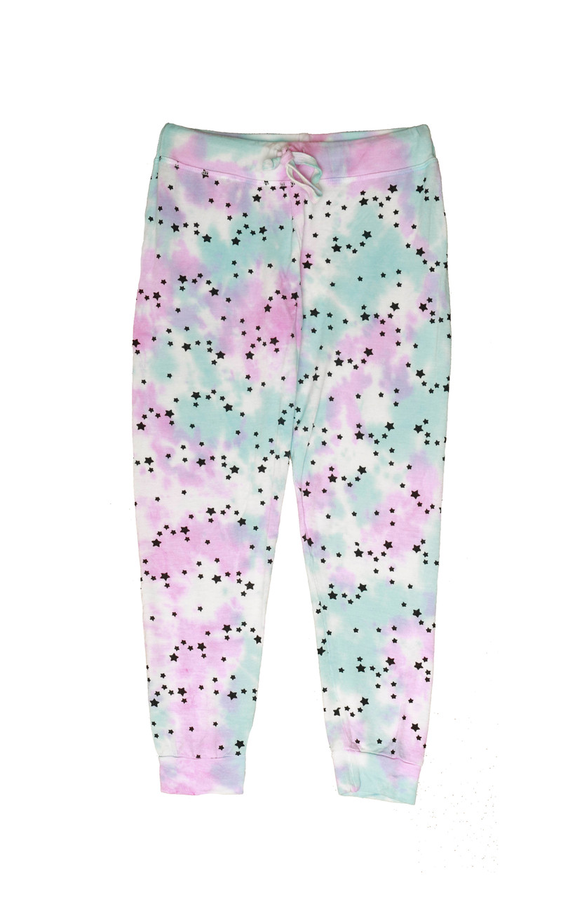PNB (PINK NATURAL BLUE) TIE DYE MINI STARS PRINT CUFFED FRENCH TERRY SWEATPANTS WITH BACK POCKET