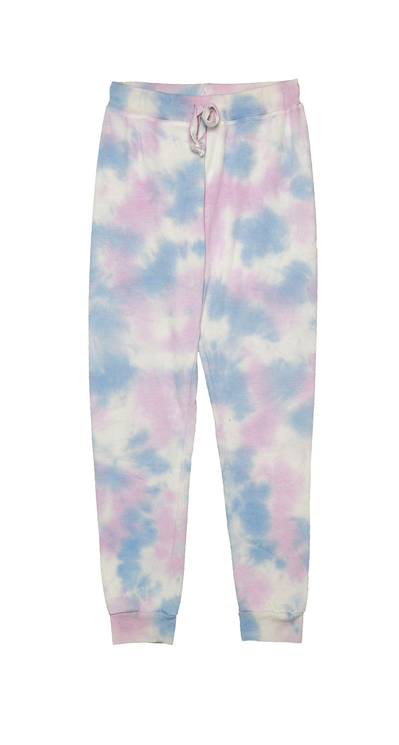 NBP (NATURAL BLUE PINK) TIE DYE CUFFED SWEATPANTS WITH BACK POCKET