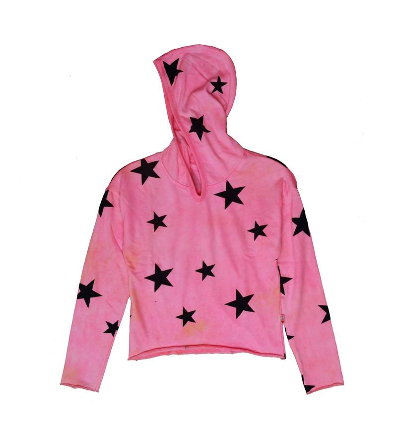 NPO (NEON PINK ORANGE) TIE DYE STARS PRINT LONG SLEEVE HOODED PULLOVER