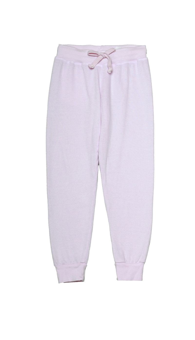 BABY PINK HEATHER CUFFED SWEAT PANTS WITH BACK POCKET