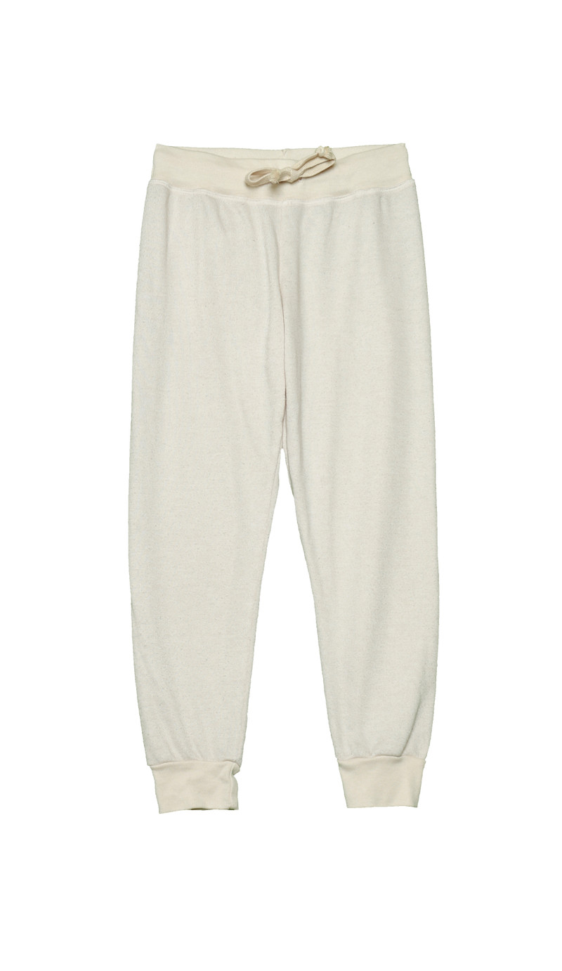 NATURAL HEATHER CUFFED SWEAT PANTS WITH BACK POCKET