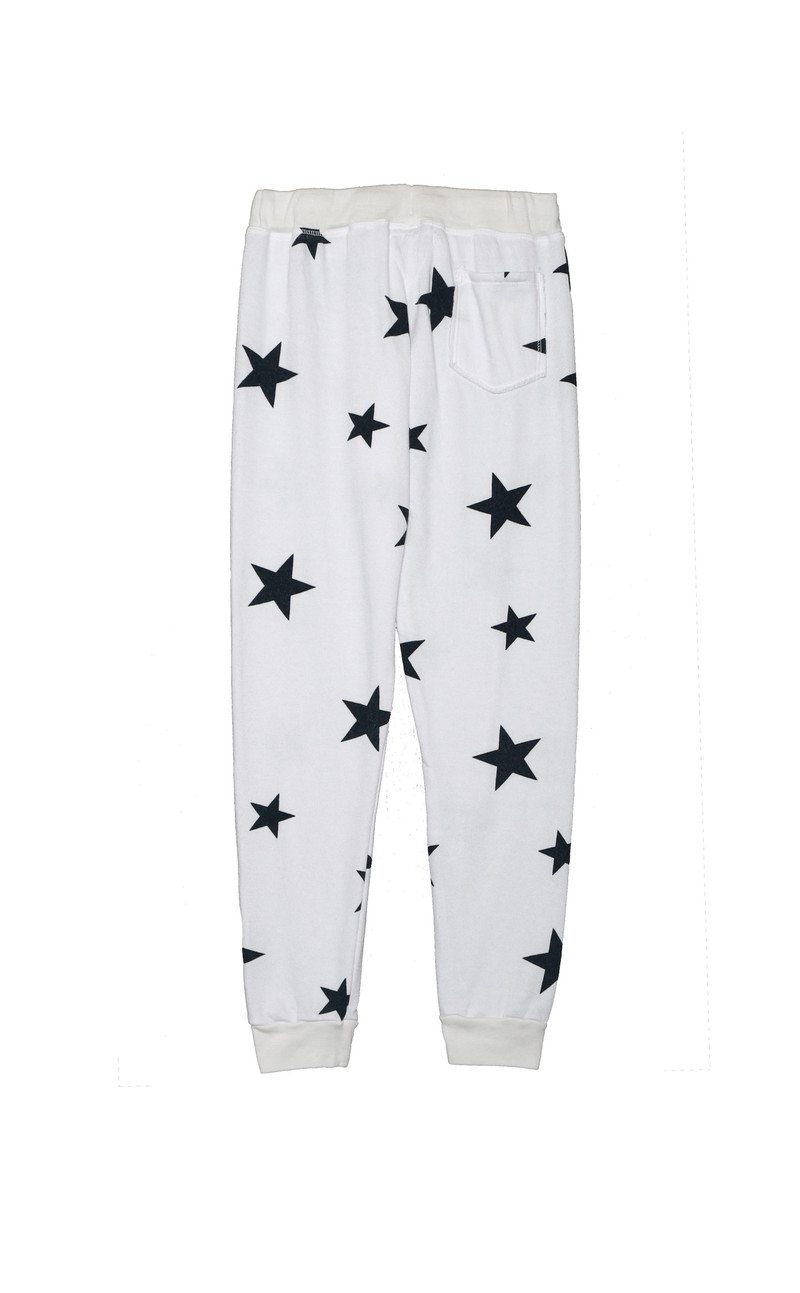 WHITE NAVY STARS HEATHER CUFFED LOOP TERRY SWEAT PANTS WITH BACK POCKET BACK VIEW