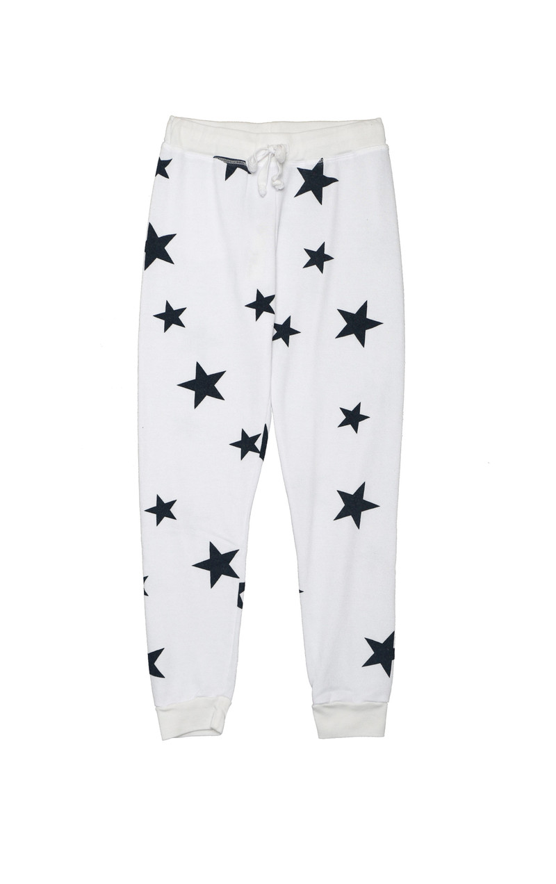 WHITE NAVY STARS HEATHER CUFFED LOOP TERRY SWEAT PANTS WITH BACK POCKET