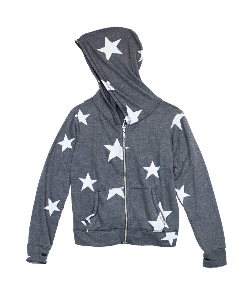 NAVY RAYON LOOP TERRY RAYON WHITE STAR PRINT HOODED ZIP JACKET AND CUFFED SWEAT PANTS WITH BACK POCKET