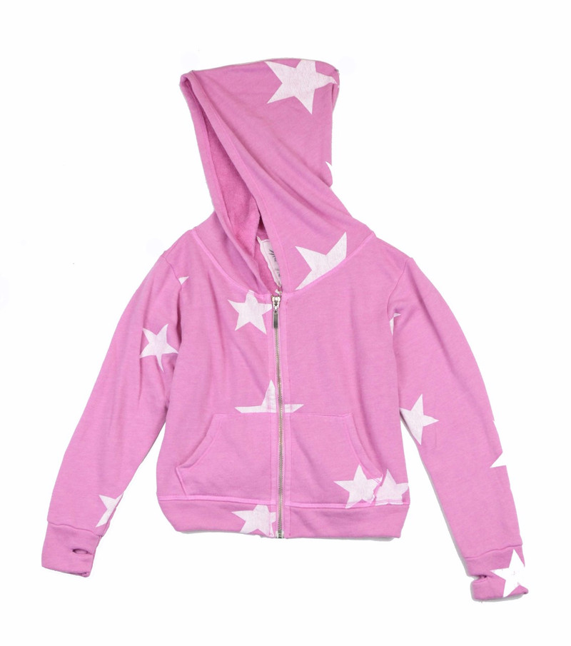 PINK RAYON LOOP TERRY RAYON WHITE STAR PRINT HOODED ZIP JACKET AND CUFFED SWEAT PANTS WITH BACK POCKET