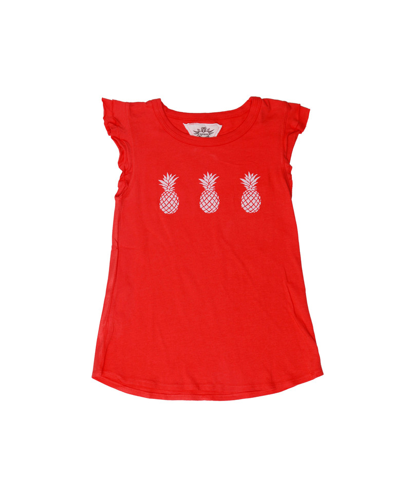 CORAL WHITE PINEAPPLES GRAPHICS  DOUBLE RUFFLE SLEEVE TANK
