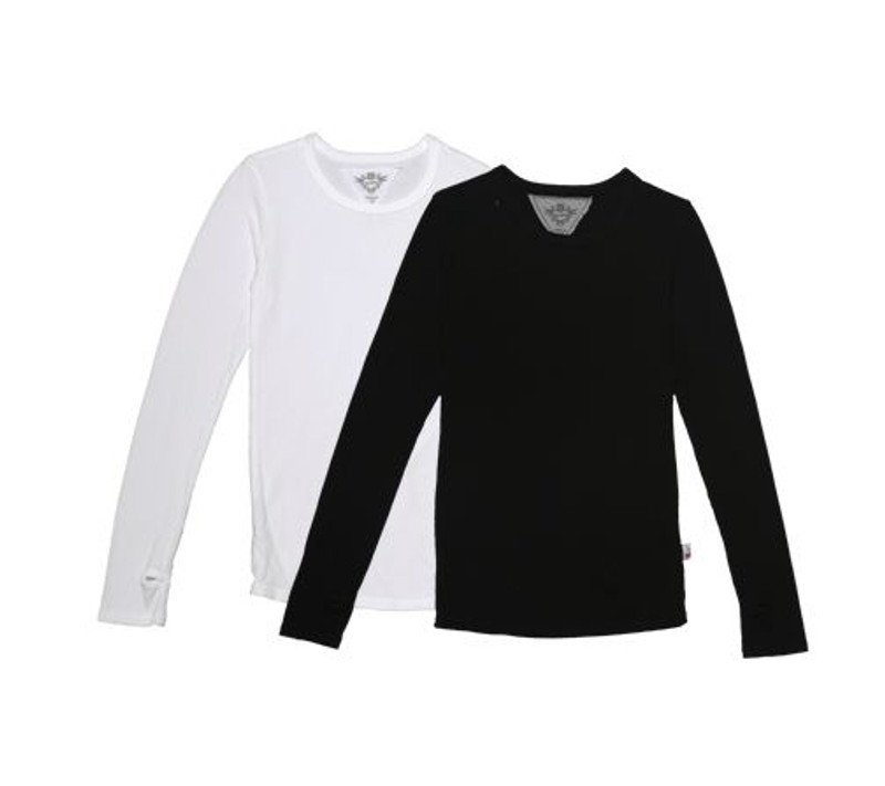 WHITE AND BLACK LONG SLEEVE JERSEY MODAL CREW NECK WITH THUMBHOLES