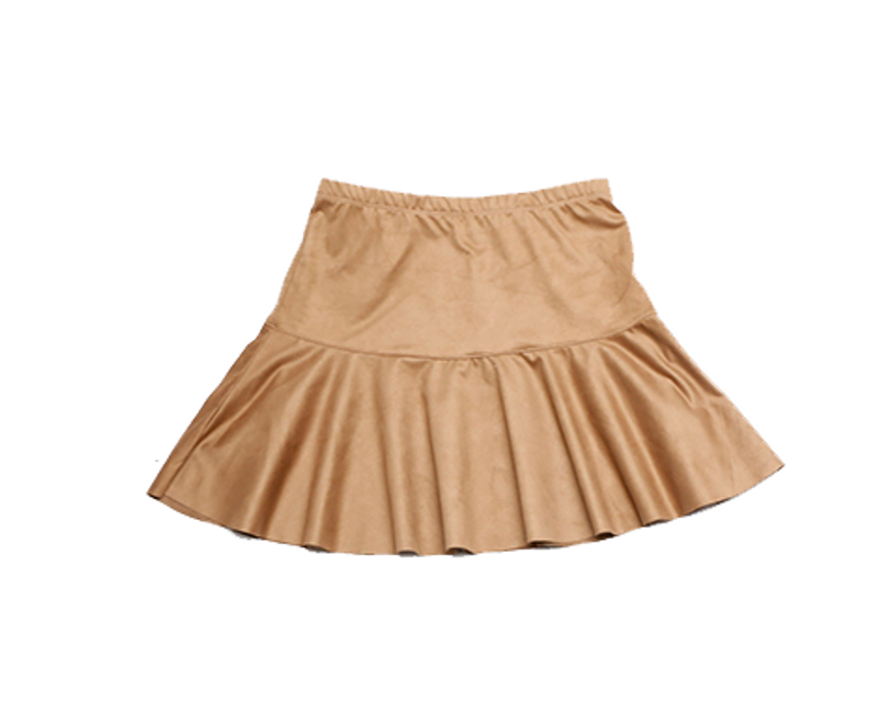 MICRO SUEDE SPANDEX RUFFLE SHORT SKIRT