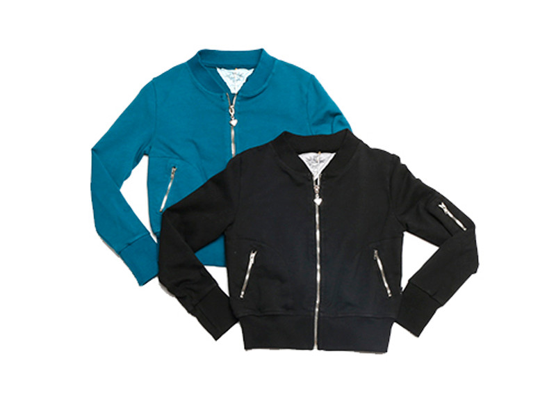 FRENCH TERRY LYCRA LONG SLEEVE BOMBER JACKET WITH CONTRAST SLEEVE