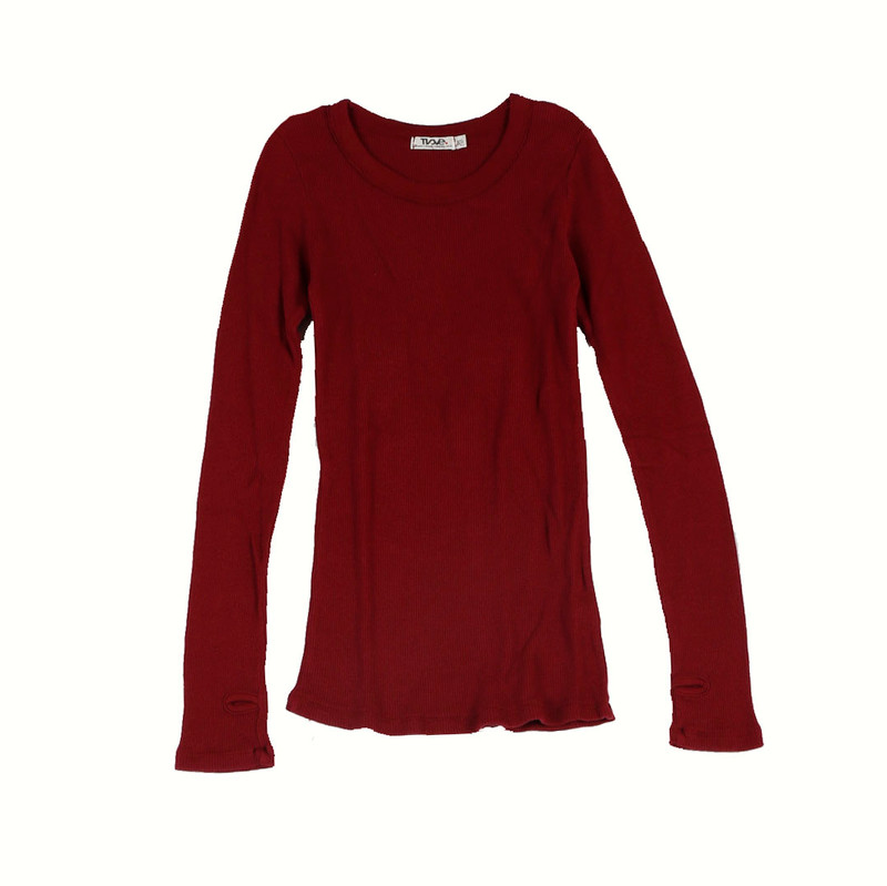 MERLOT LONG SLEEVE CREW THERMAL WITH THUMBHOLES