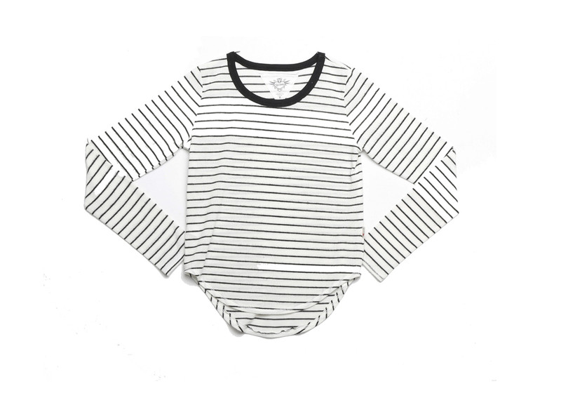 WHITE WITH BLACK STRIPES LONG SLEEVE SWEATER CREW