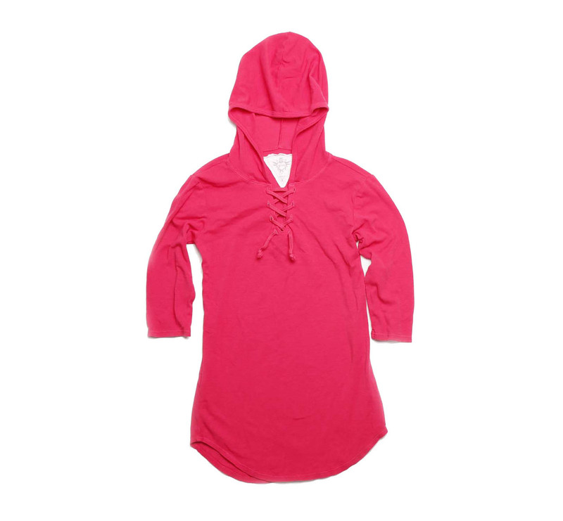 FUCHSIA 3/4 SLEEVE LACE HOODED TUNIC