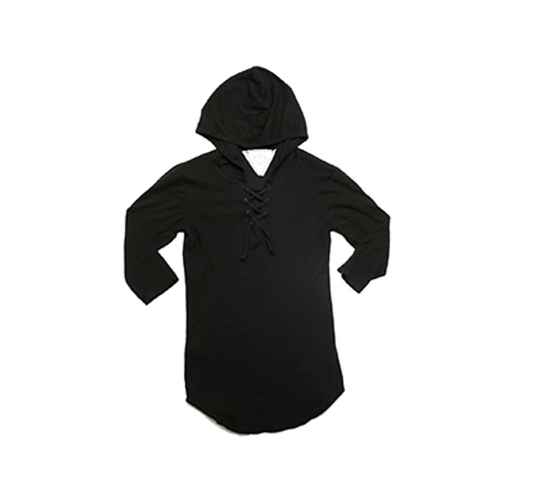 BLACK 3/4 SLEEVE LACE HOODED TUNIC