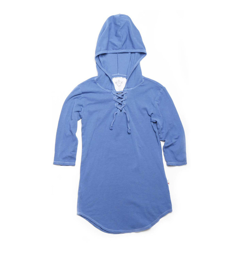 RIVER BLUE 3/4 SLEEVE LACE HOODED TUNIC